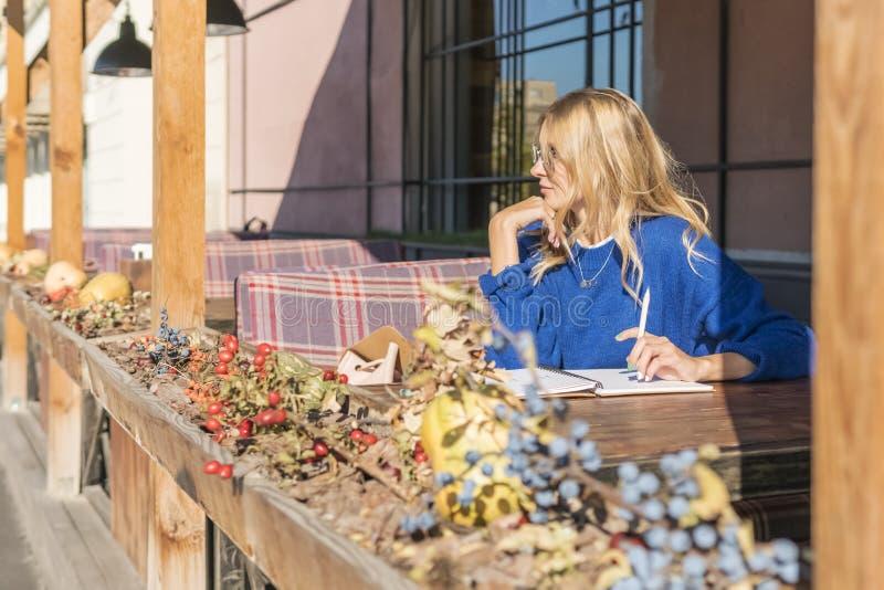 Zadumana kobieta z notatnikiem w kawiarni zdjęcia royalty free
