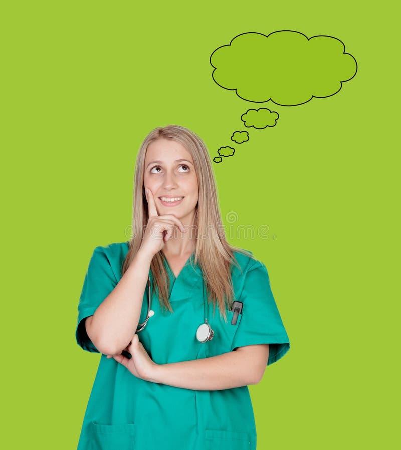 Zadumana medyczna dziewczyna fotografia stock