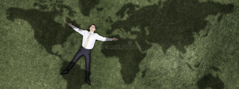 Zadumany biznesmen na trawie ilustracji