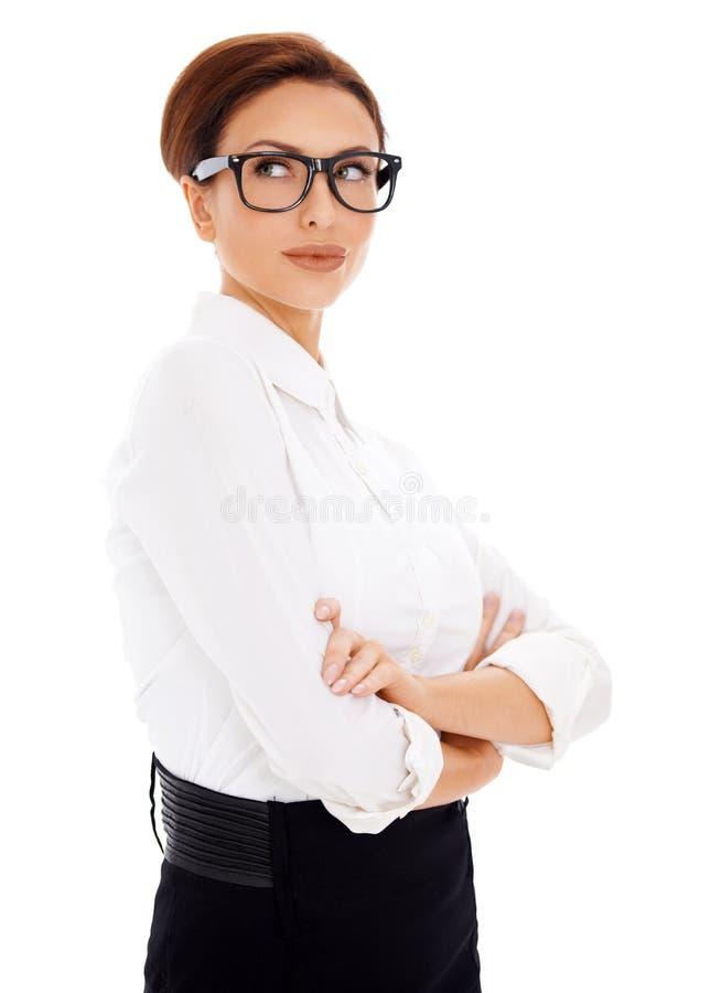 Download Zadumany Bizneswoman Patrzeje Upwards Zdjęcie Stock - Obraz złożonej z odosobniony, fałdowy: 28952766