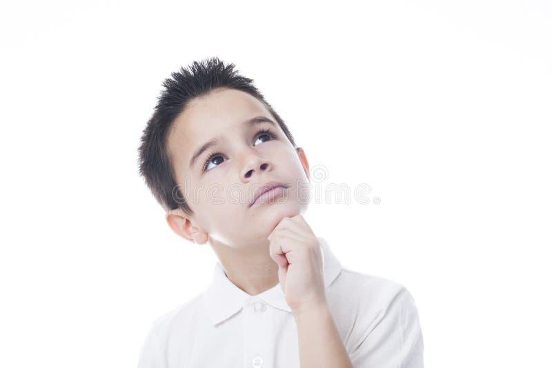 Zadumany dziecko z kopii przestrzenią fotografia stock