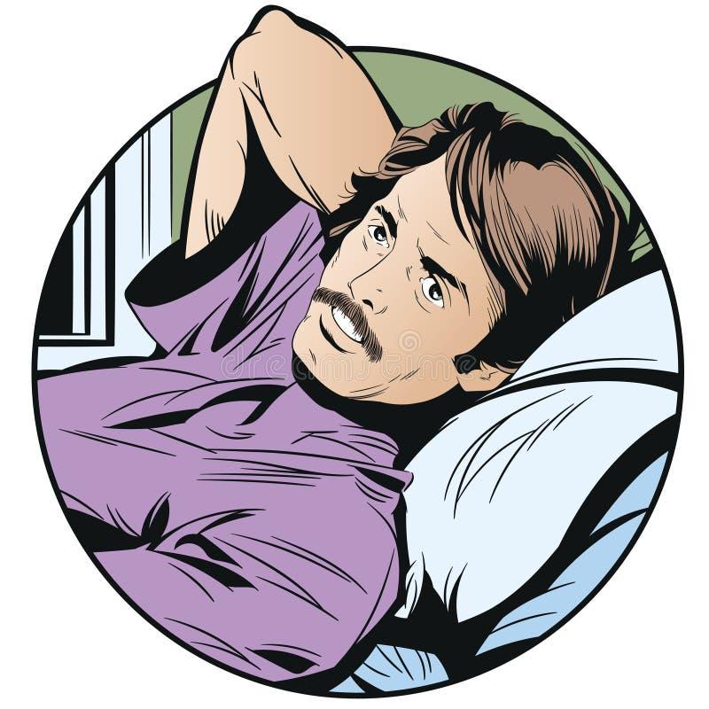 Zadumany mężczyzna w łóżku tła jaskrawy ilustracyjny pomarańcze zapas ilustracja wektor