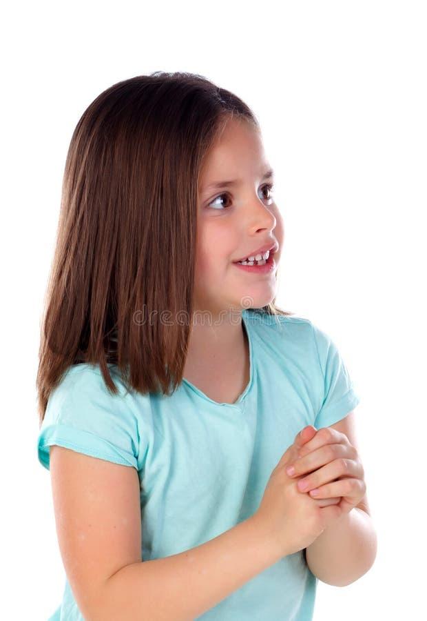 Zadumany mały dziewczyny wyobrażenie coś obrazy royalty free