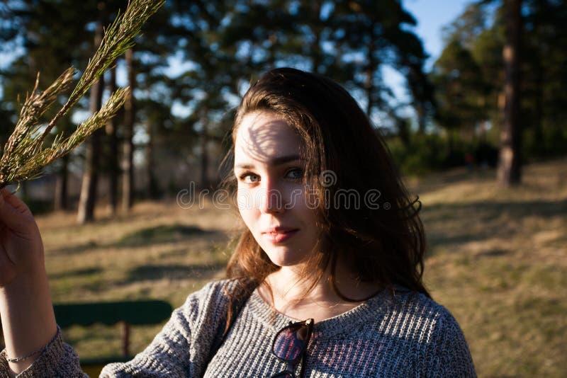 Zadumany portret powabna dziewczyna z cieniem na jej twarzy od sosnowych gałąź fotografia stock