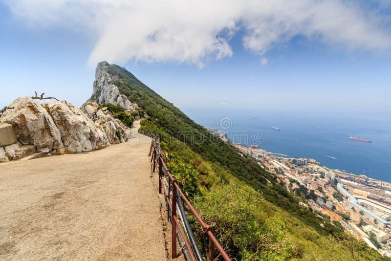 Zadziwiać Vista z wierzchu skały Gibraltar fotografia stock
