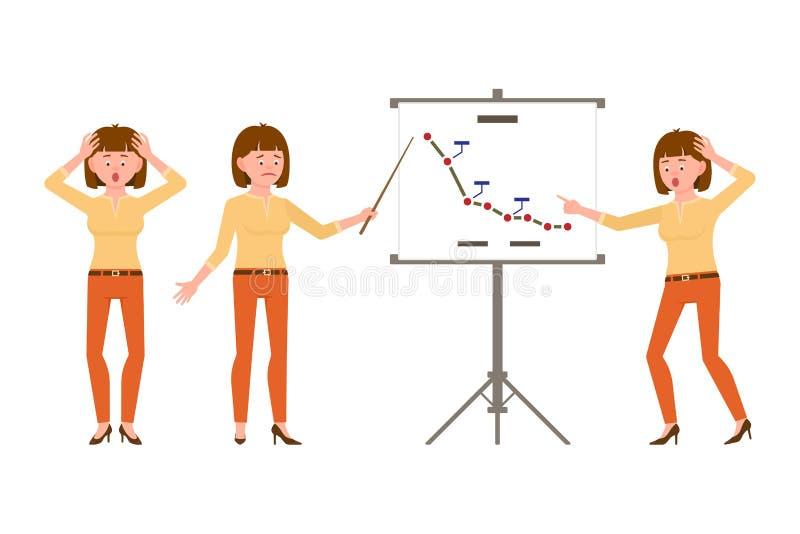 Zadziwia, spęczenie, brązu biurowego urzędnika włosiana kobieta w pomarańcze dyszy wektorową ilustrację ilustracji