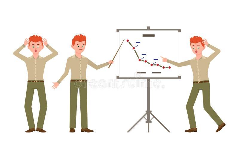Zadziwia, spęczenie, czerwony włosiany biurowego urzędnika mężczyzna w zieleni dyszy wektorową ilustrację ilustracji