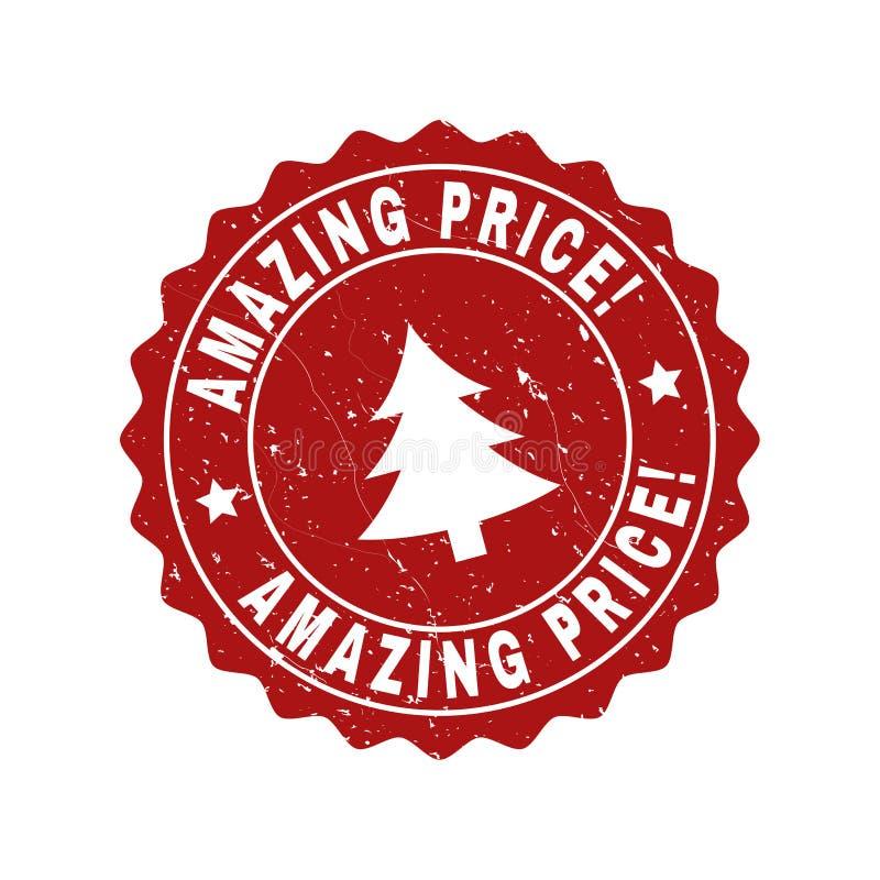 ZADZIWIAJĄCA cena! Grunge znaczka foka z jedliną ilustracji