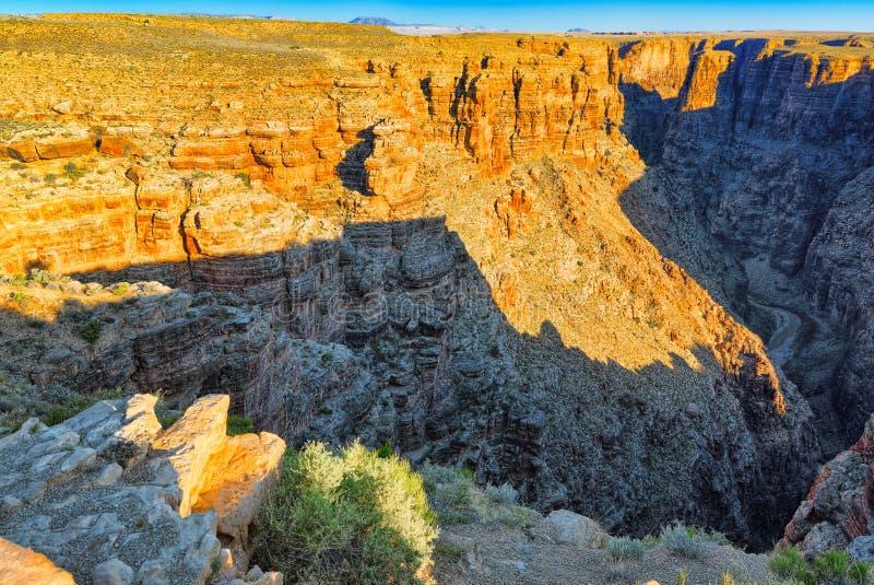 Zadziwiająca naturalna geological formacja - Kończy część Grand Canyon w Arizona zdjęcia stock