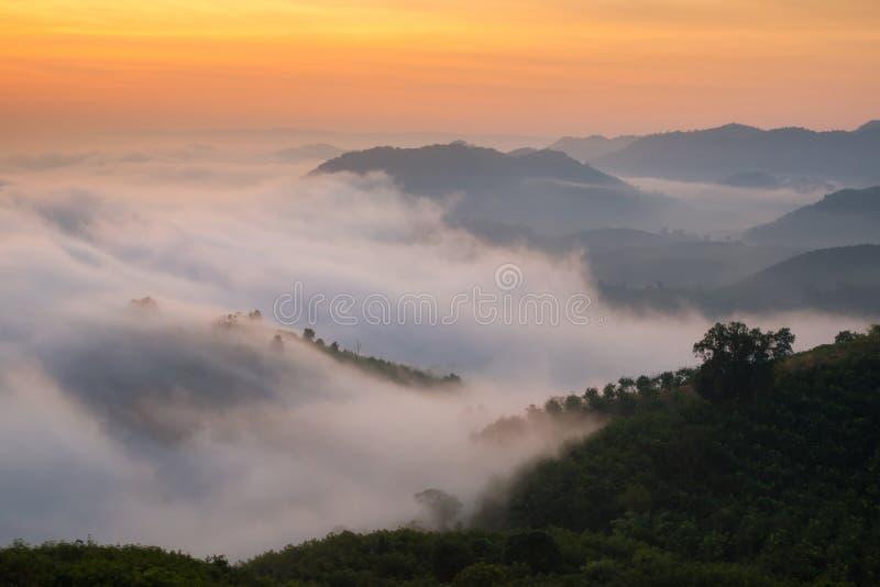 Zadziwiająca natury mgła rusza się nad natur górami fotografia royalty free
