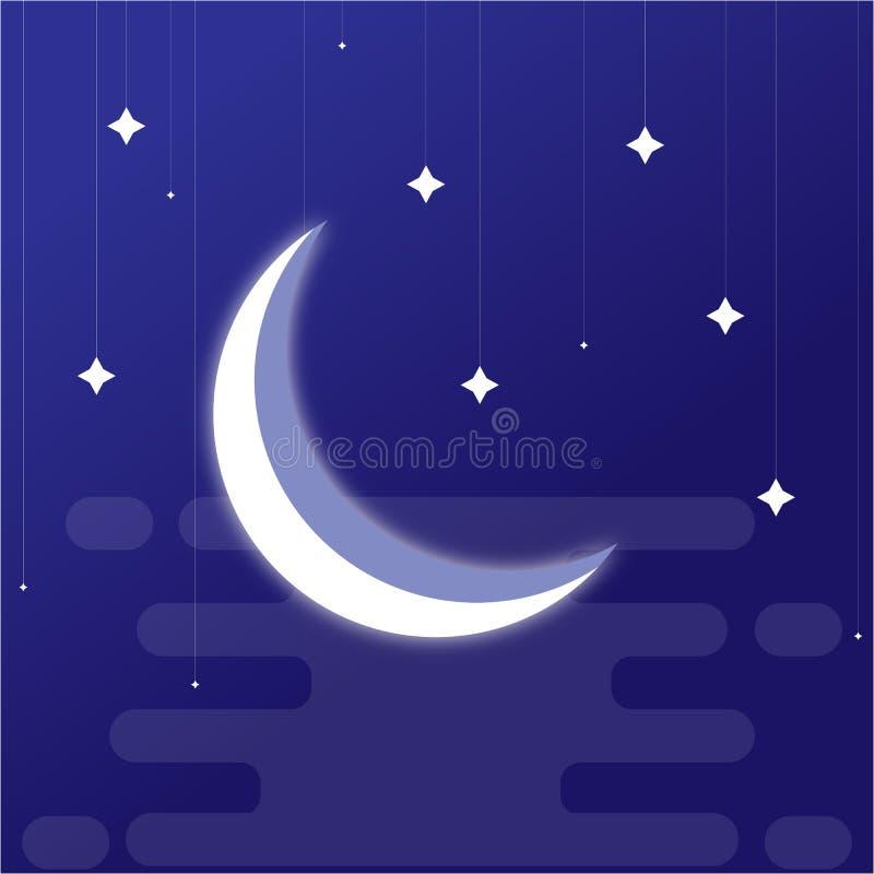 Zadziwiająca nocy księżyc wektoru ilustracja ilustracja wektor
