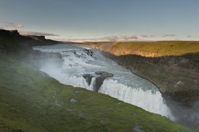 Zadziwiająca ogromna piękna siklawa Gullfoss, sławny punkt zwrotny w Iceland fotografia royalty free