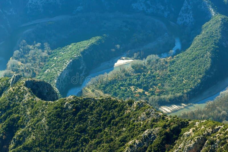 Zadziwiająca panorama Nestos wąwóz blisko miasteczka Xanthi, Grecja fotografia stock