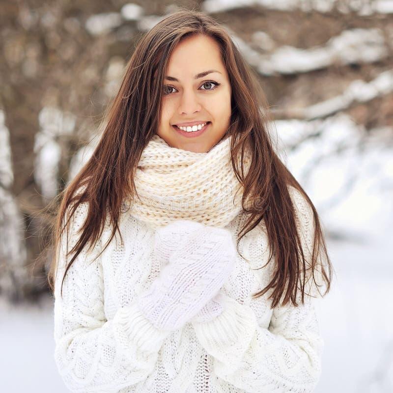 ZadziwiajÄ…ca piÄ™kna dziewczyna w zimie - zamyka w górÄ™ zdjęcia stock