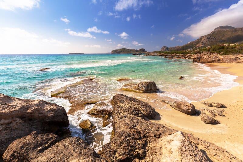 Zadziwiająca sceneria Falassarna plaża na Crete, Grecja obraz stock