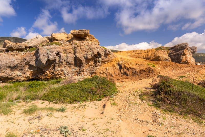Zadziwiająca sceneria Falassarna plaża na Crete, Grecja obrazy royalty free