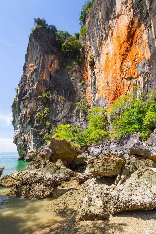 Zadziwiająca sceneria park narodowy w Phang Nga zatoce obraz stock