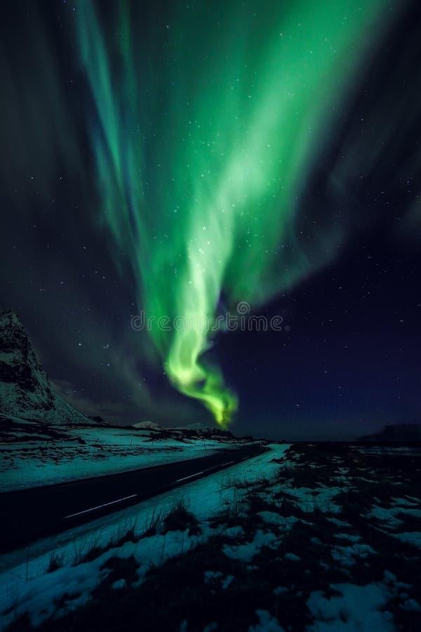 Zadziwiająca stubarwna zielona zorza Borealis także zna gdy Północni światła w nocnym niebie nad Lofoten krajobrazem, Norwegia, S obrazy royalty free