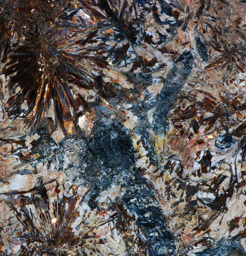 Zadziwiająca tekstura Astrophyllite kopalina fotografia stock