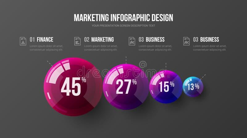 Zadziwiającego biznesu 4 elementu prezentaci wektoru 3D infographic kolorowe piłki ilustracyjne fotografia stock