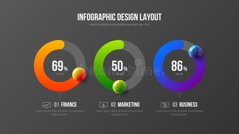 Zadziwiającej biznesowej infographic prezentaci wektorowy ilustracyjny pojęcie Korporacyjnego marketingowego analityka dane rapor royalty ilustracja
