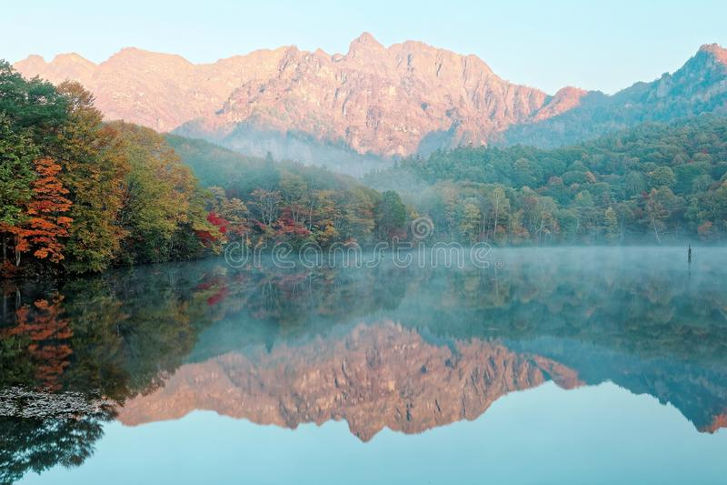 Zadziwiającej jesieni jeziorna sceneria Kagami Ike lustra staw w ranku świetle z symmetric odbiciami kolorowy spadku ulistnienie fotografia stock