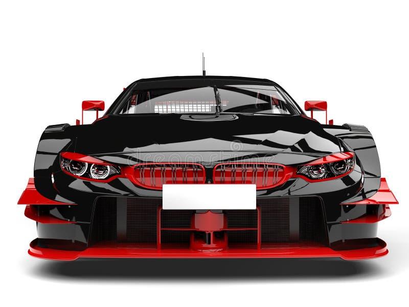 Zadziwiający ciemny samochód wyścigowy z czerwień szczegółami - frontowego widoku zbliżenia strzał ilustracji