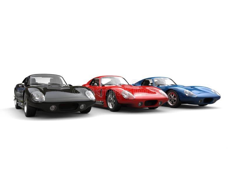Zadziwiający czerni, czerwieni i błękita rocznika sportów samochody, royalty ilustracja