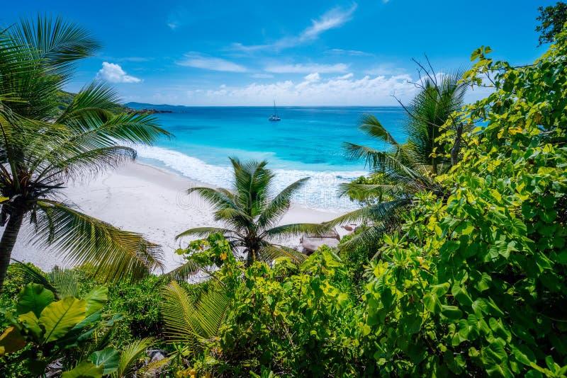 Zadziwiający dziki tropikalny plażowy Mały Anse z luksusową roślinnością na losu angeles Digue wyspie, Seychelles obrazy stock