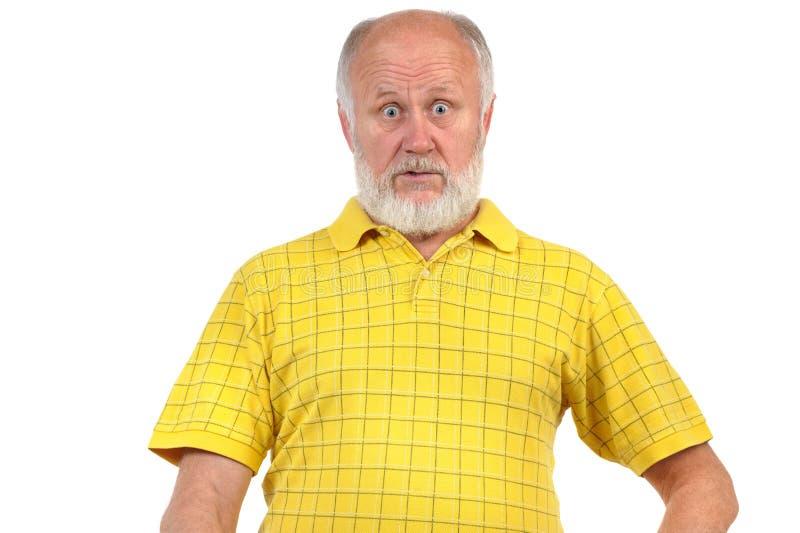 Zadziwiający i zdumiewający starszy łysy mężczyzna zdjęcia royalty free