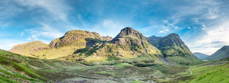 Zadziwiający krajobraz Glencoe z nim ` s trzy siostry zdjęcia royalty free