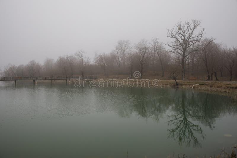 Zadziwiający krajobraz most odbija na nawierzchniowej wodzie jezioro, mgła wyparowywa od stawu robi romantycznej scenie lub Piękn obrazy stock