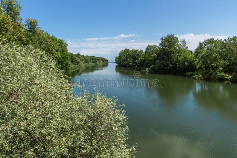 Zadziwiający krajobraz Veleka rzeka, Bułgaria zdjęcia stock