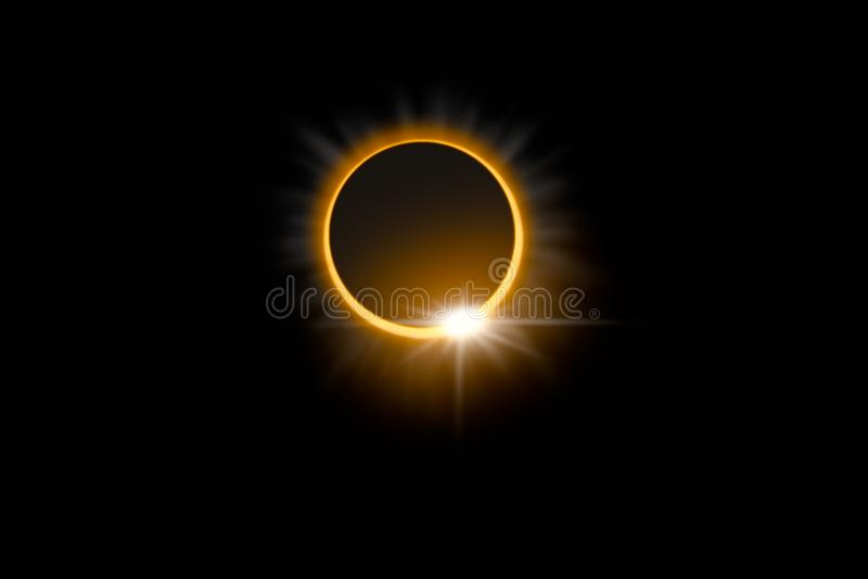 Zadziwiający naukowy naturalny zjawisko Sumaryczny słonecznego zaćmienia glowi ilustracji