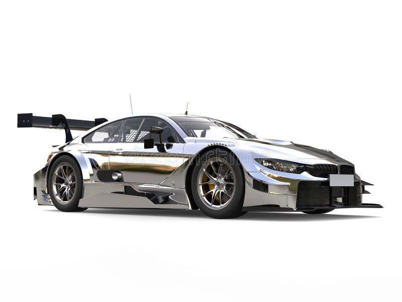 Zadziwiający nowożytny kruszcowy super samochód wyścigowy - piękno strzał ilustracji