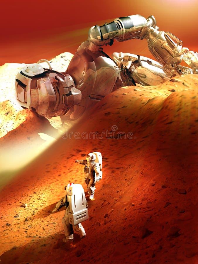 Zadziwiający odkrycie na planecie Mars royalty ilustracja