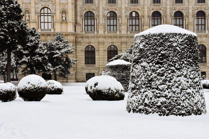 Zadziwiający opad śniegu w Wiedeń, Austria obrazy stock