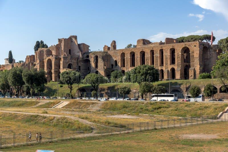 Zadziwiający panoramiczny widok Cyrkowy Maximus w mieście Rzym, Włochy zdjęcie royalty free