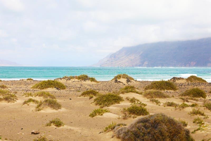 Zadziwiający panoramiczny widok od Caleta Famara diuny z roślinnością, morze i góry z mgłą na tle, Lanzarote, zdjęcia royalty free