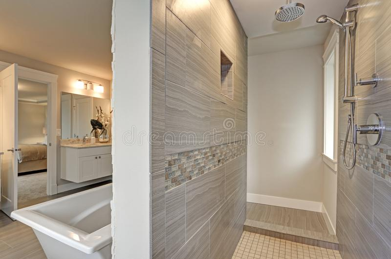 Zadziwiający rówieśnika mistrza łazienki wnętrze zdjęcie stock