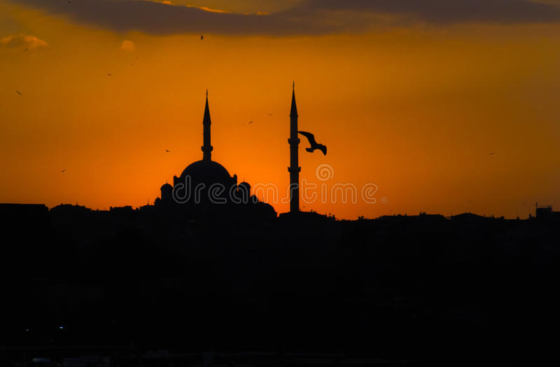 Zadziwiający romantyczny krajobraz, antyczni minarety obrazy royalty free