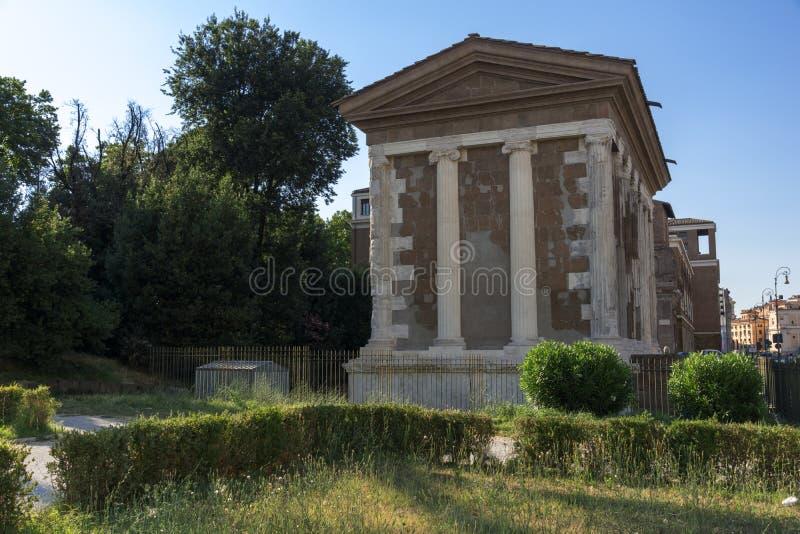 Zadziwiający widok świątynia Portunus w mieście Rzym, Włochy obrazy stock