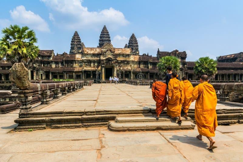 Zadziwiający widok Angkor Wat jest świątynnym kompleksem w Kambodża zdjęcie stock
