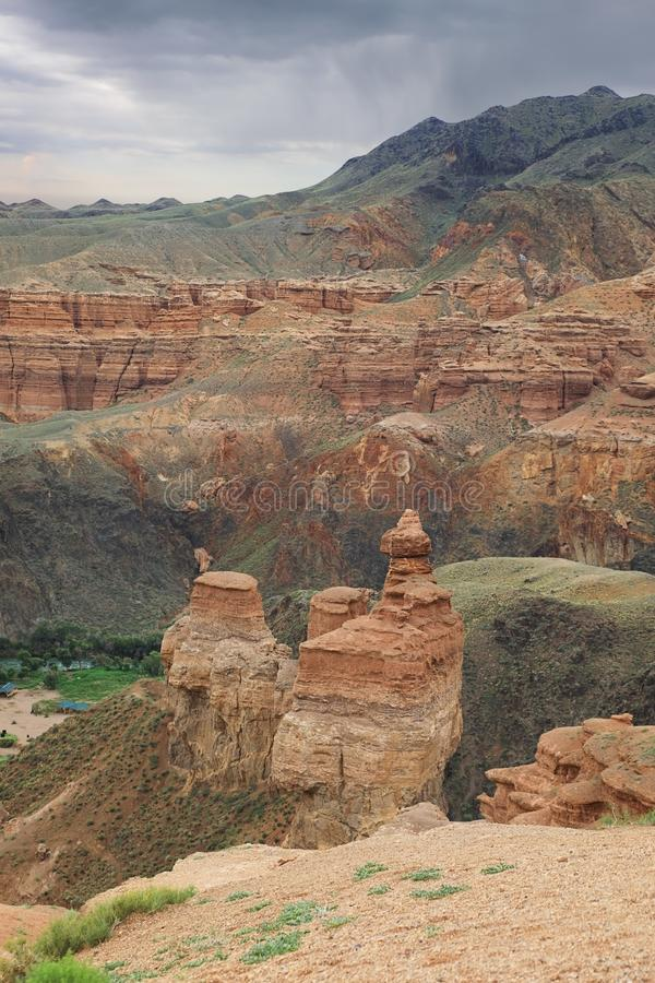 Zadziwiający widok Charyn jar, Kazachstan obraz royalty free