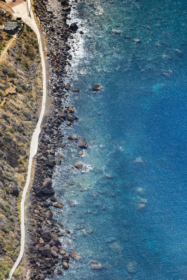 Zadziwiający widok od wysokiej Cabo Girao falezy na plaży, oce fotografia royalty free
