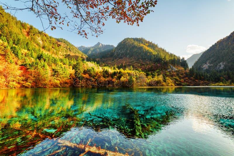 Zadziwiający widok Pięć Kwiat jezioro wśród pięknych gór obrazy royalty free