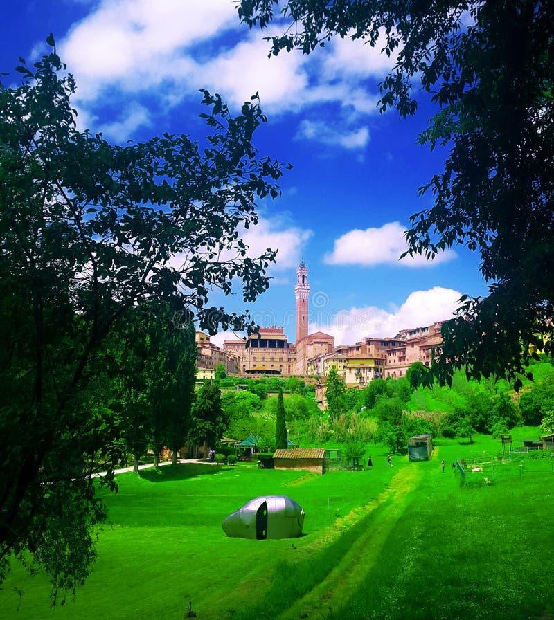 Zadziwiający widok Piazza Del Campo w Sienatuscany, Italy obrazy royalty free