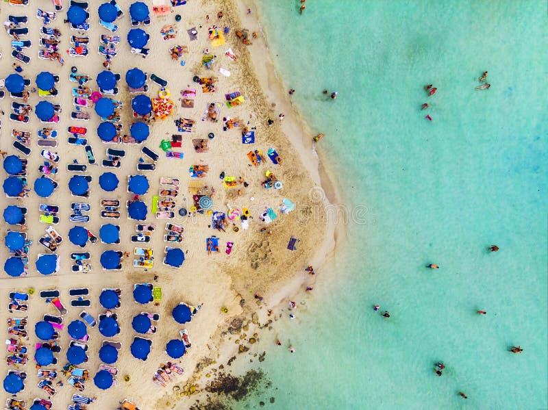 Zadziwiający widok z lotu ptaka nad Nissi plażą w Cypr z góry Nissi plaża Przy przypływem Turyści relaksują na plaży plaża tłoczą fotografia royalty free