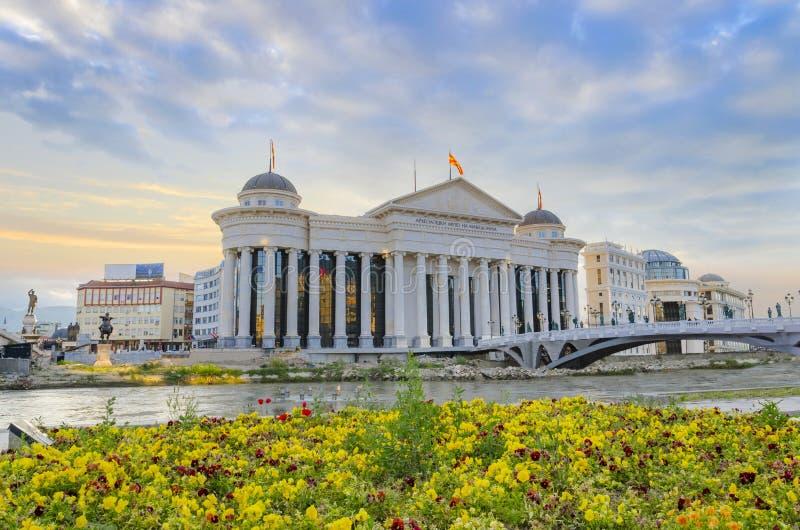 Zadziwiający wschód słońca archeologiczny muzeum w Skopje, Macedonia zdjęcie royalty free