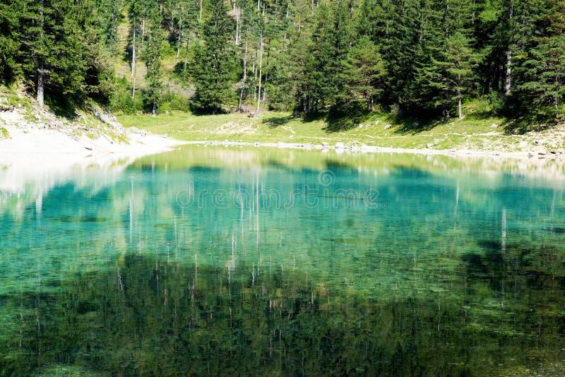 Zadziwiający zielony jezioro w Austria Hohshwab góry obraz stock